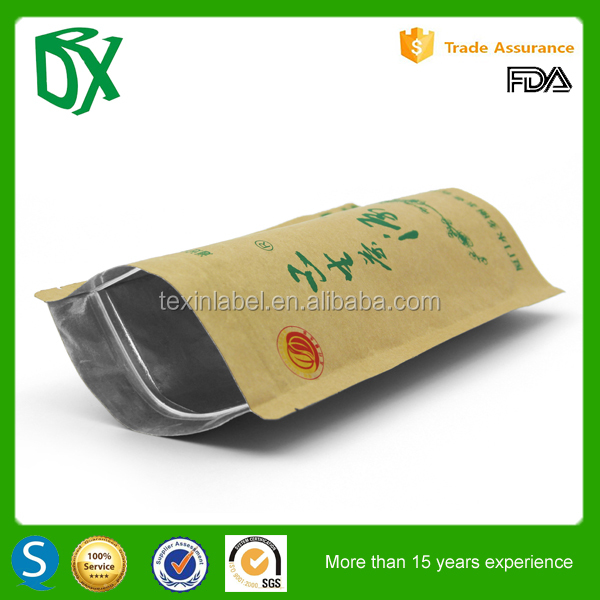wholesale price china factory biodegradable kraft foil zip lock bag stand up pouch with zipper