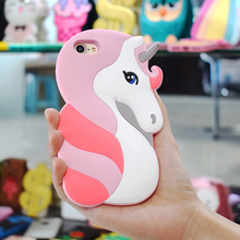 3D Cartoon Unicorn Bpa-Free Silicone Girl Women Soft Rubber Shockproof 4.7 Smartphone Case Compatible For Iphone7 For Iphone8