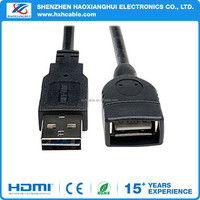 USB 2.0 Universal Reversible Male to Female Extension Black Cable