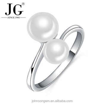 Latest Design 925 Silver adjustable Ring Natural AAA White Freshwater Pearl Rings with White Gold Plated Ring Settings for Girls
