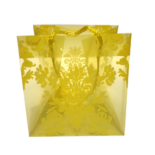 Square yellow flower gift pp plastic hand bag