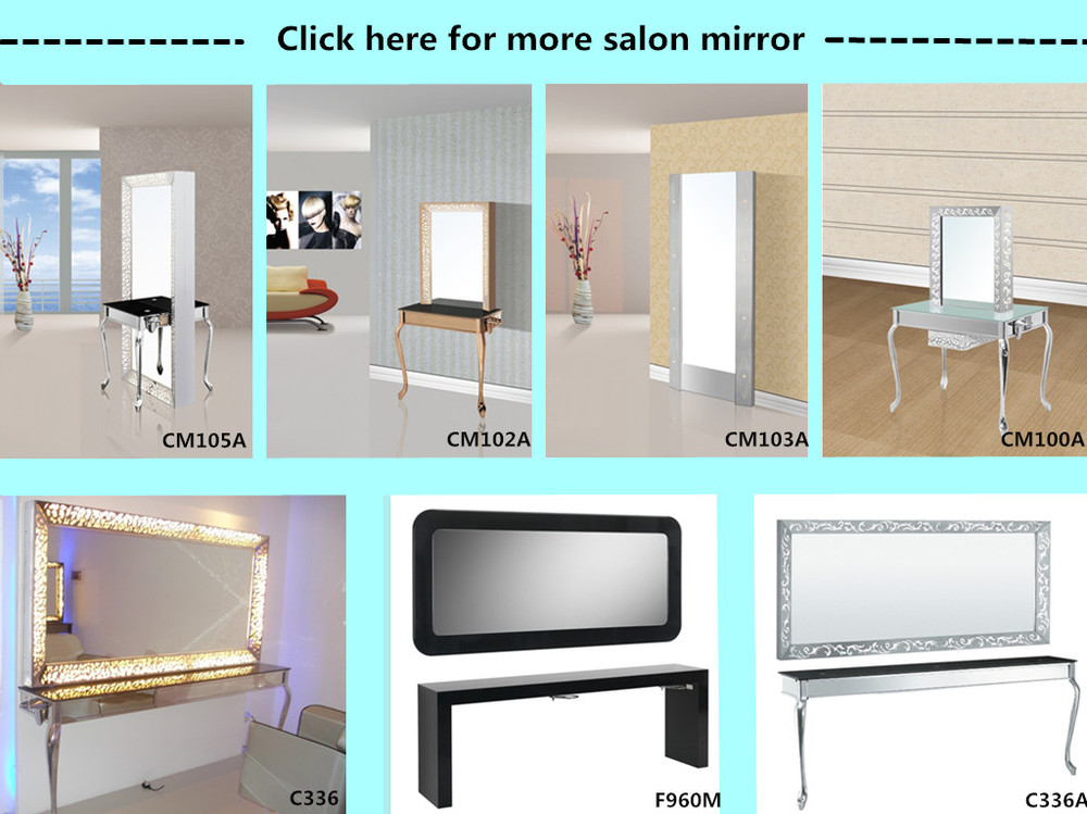 Mirror stations with table and tv salon styling mirror for for Salon table and mirror