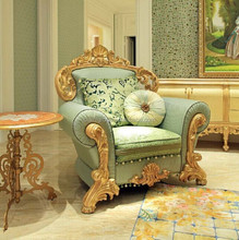 New Design Classic Italian Gild Carving Framed Single Sofa with Green Fabric, Luxury Elegant Single Couch for Villas BF11-12263i