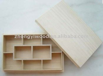 natural paulownia wooden coin box with separated lid