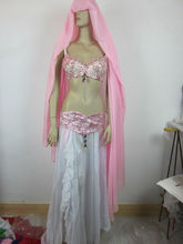 pink belly dance bra top and skirt wholesale (XF-050)