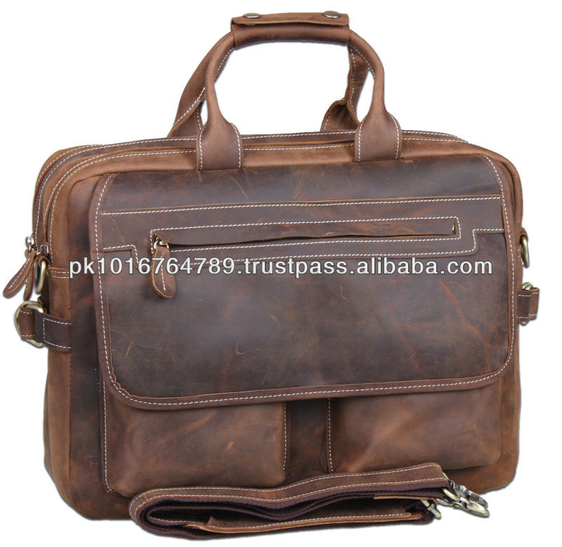 Cowhide Leather Men's 15'' Laptop Case Messenger Bag Shoulder Briefcase NEW
