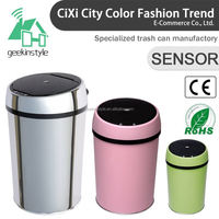 1.5-3 Gallon Round Infrared Touchless Dustbin Stainless Steel Waste bin automatic dustbin model SD-005
