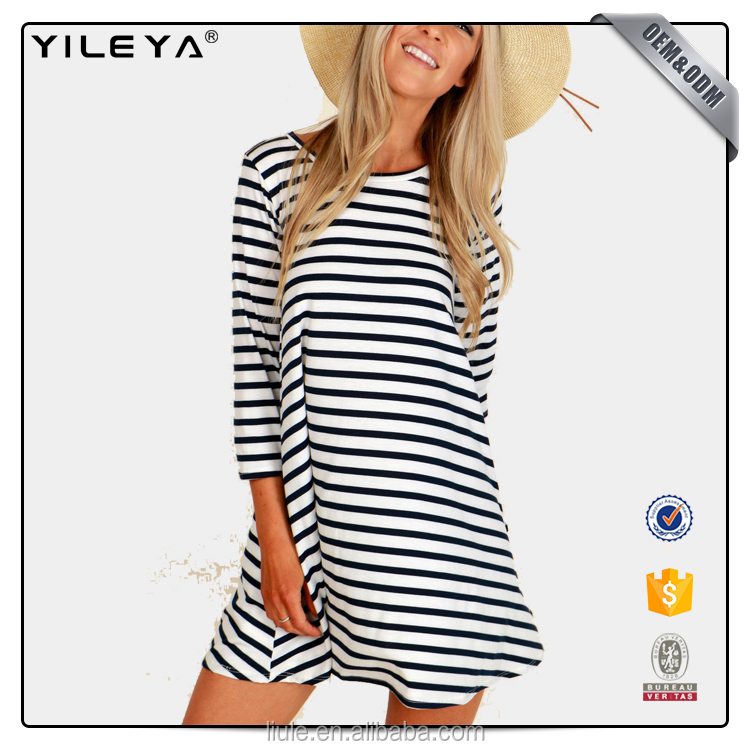 simple blue striped latest fashion ladies casual dresses with front pockets