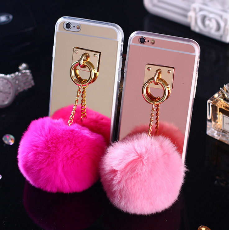 Mobile Phone Accessories Ring Chain Fur Ball Phone Case Cover For iPhone 6s
