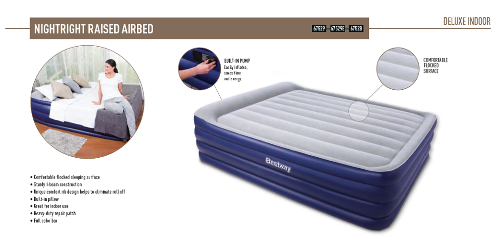 Bestway NightRight Raised Inflatable Mattress camping Air Bed
