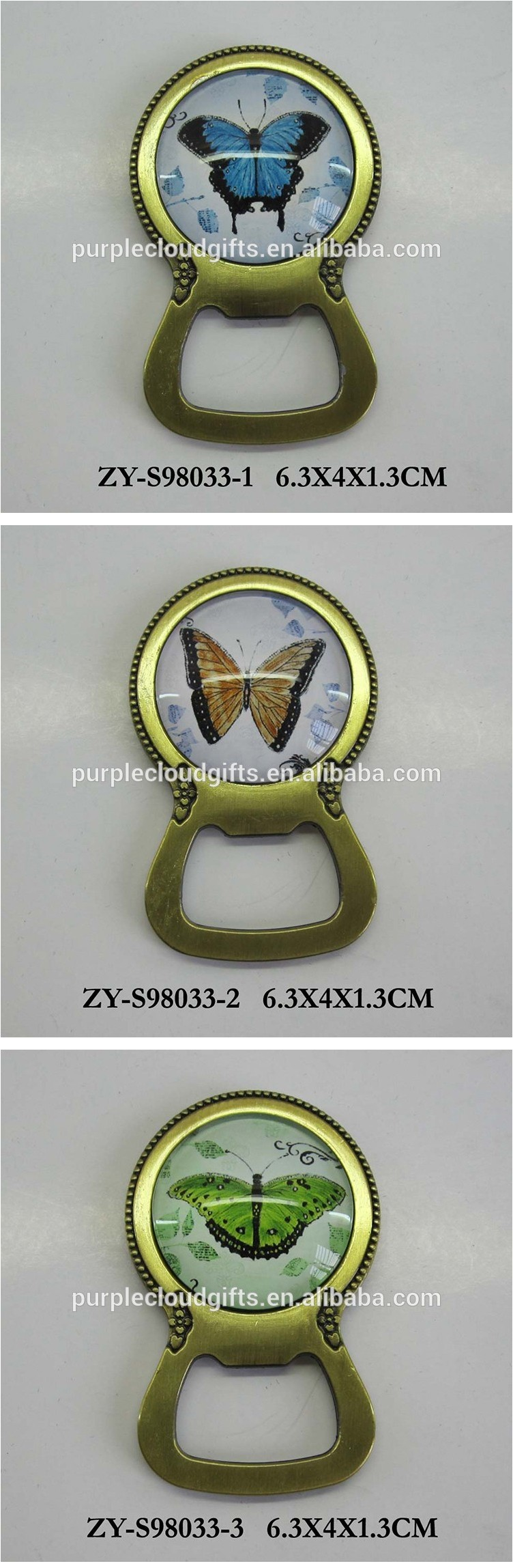 Promotional Butterfly printing metal plating brass glass fridge magnet bottle opener for sourvenir