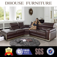 2016 newest home livingroom furniture leather corner sofa set DH1184
