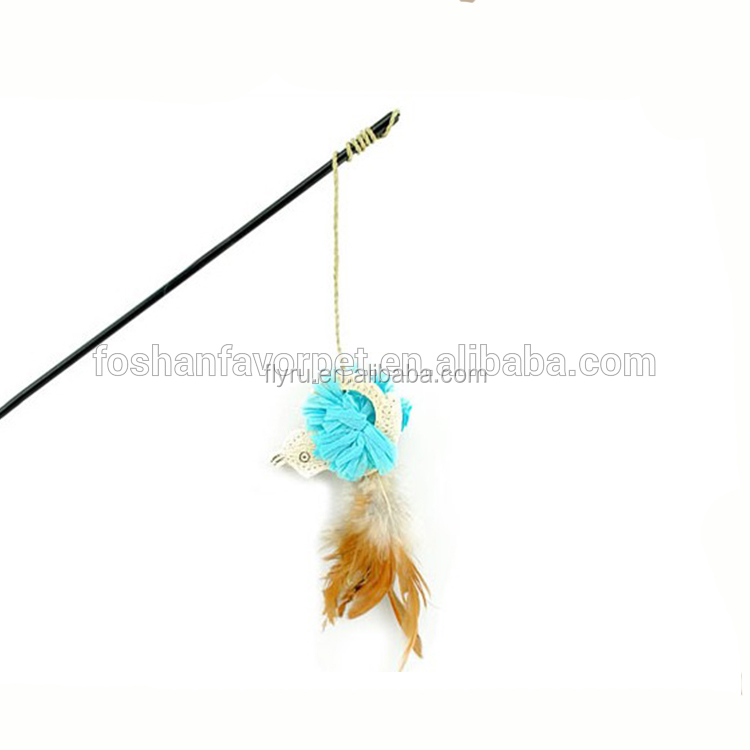 Natural Luffa With Feather Cat Playing Rod Best Selling Cat Dangler