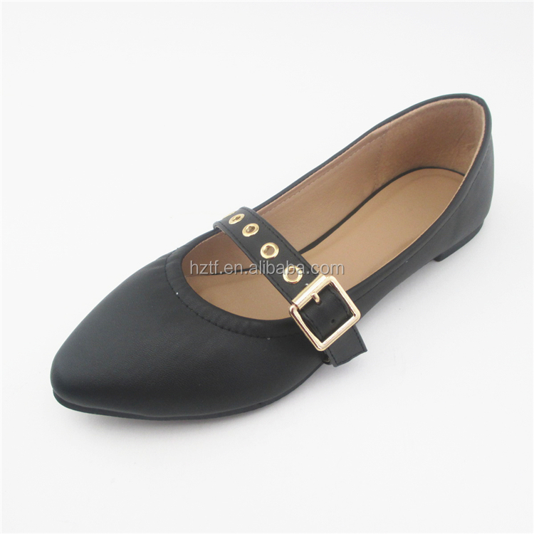 The pointed-toe style ladies pu shoes flats