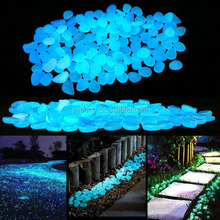 200pcs Glow in the Dark Garden Pebbles Stones for Yard and Walkways Decor, DIY Decorative Luminous Stones in Blue