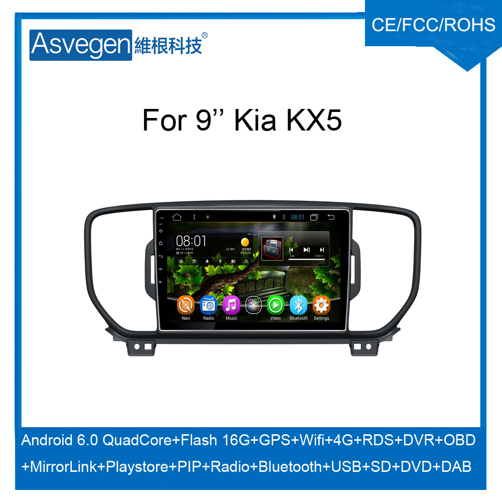 For Kia KX5 Sportage 2016 Android GPS Navigation Player With Quad With DAB+ Mirror Link Radio Headrest Play Store Bluetooth