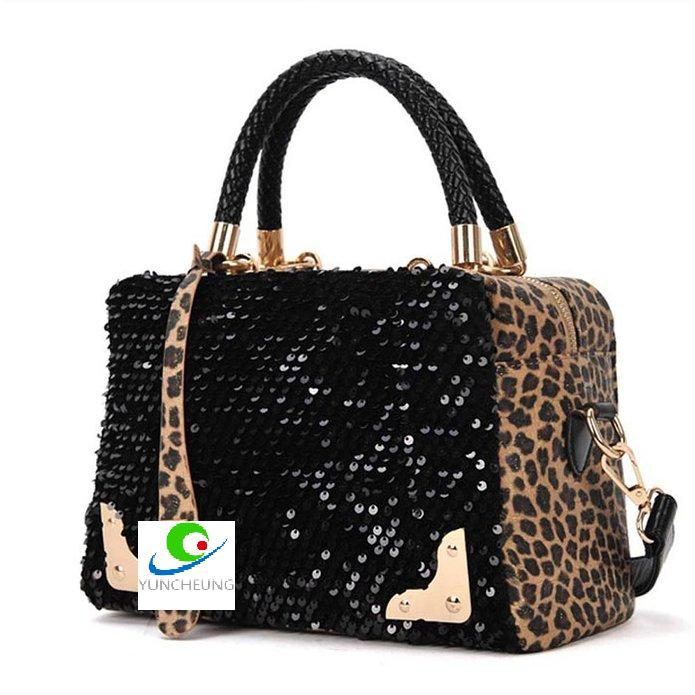 Sunshine Tour Women's Fashion Leopard Sequined Ladies Shoulder Messenger Bag Handbag Tote Purse Crossbody Bag