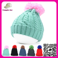 Multi color unisex slouchy Beanie Hats ski hat china wholesale cable knitted hat with pompom for ladies