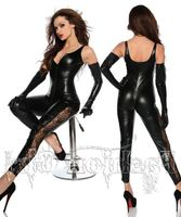Adult Women Sexy PU Bodycon Catsuit Wetlook Paint Leather Glove Jumpsuit Open Crotch Fetish Latex Stripper Pole Dancing Clubwear