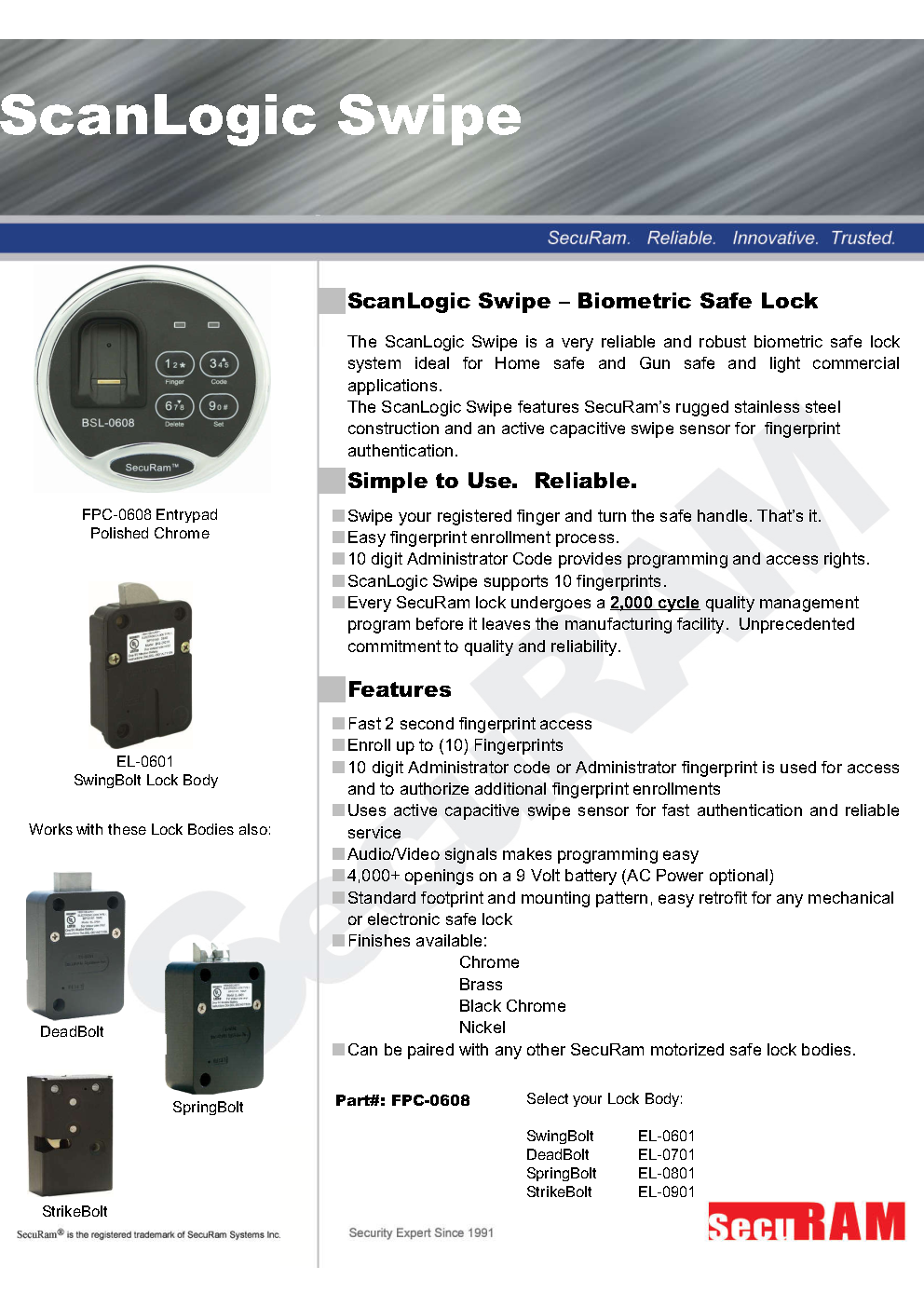 Biometric Safe lock controller