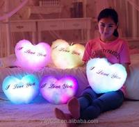 Hot selling 36*30cm LED Luminous Night Light Love Heart Plush Pillow Stuffed Cushion LED Plush Toy Valentine Gifts