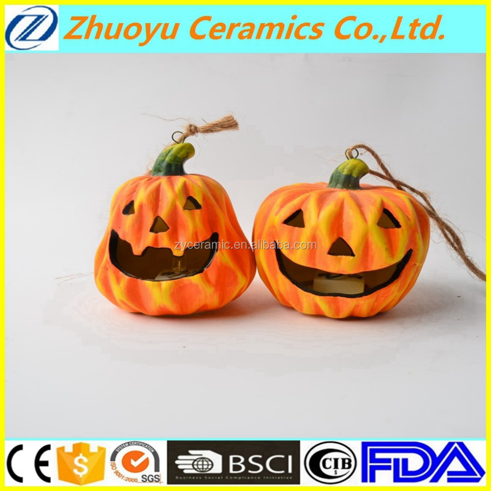 Promotional Halloween LED Light Ceramic Pumpkin for decoration