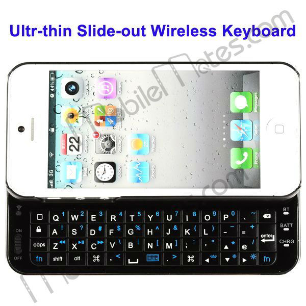 Ultra-thin Slide-out Bluetooth Keyboard for iPhone 5 Slide-out Bluetooth Keyboard with Back Light