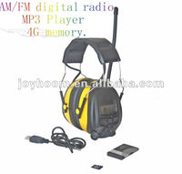 Electronic earmuffs with AM and FM Radio and MP3 Player ear protector