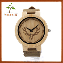 Amazon Han Edition Contracted Tide Elk Leather Current Male And Female Students Custom Logo Wood Watch Bamboo Wrist Watch