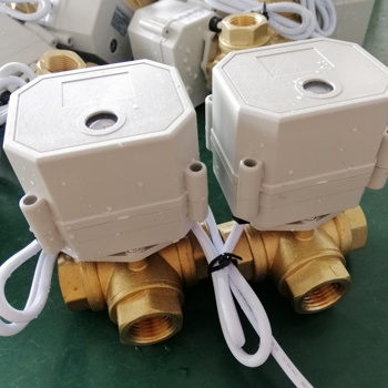 DN15 1/2 inch 3-way Brass ball valve DC24V electric motor control valve
