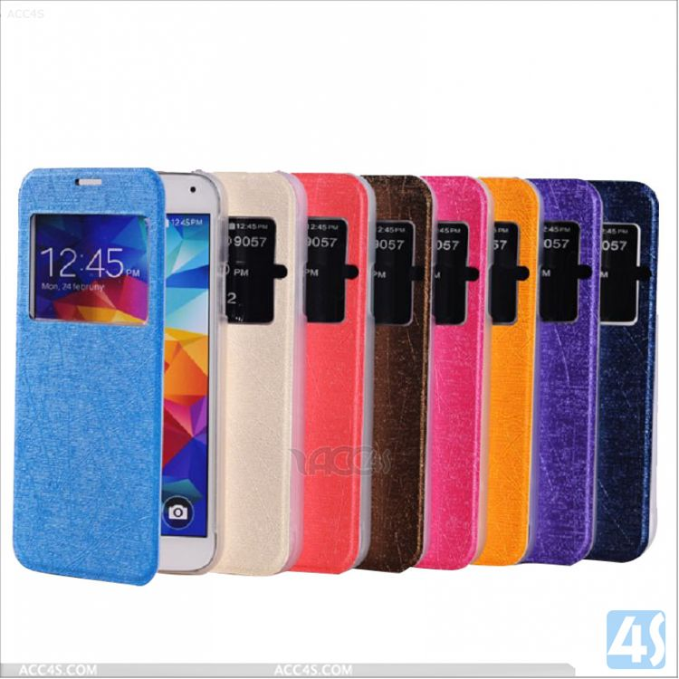 Smart cover case for samsung galaxy s5 , windows leather case for samsung galaxy s5