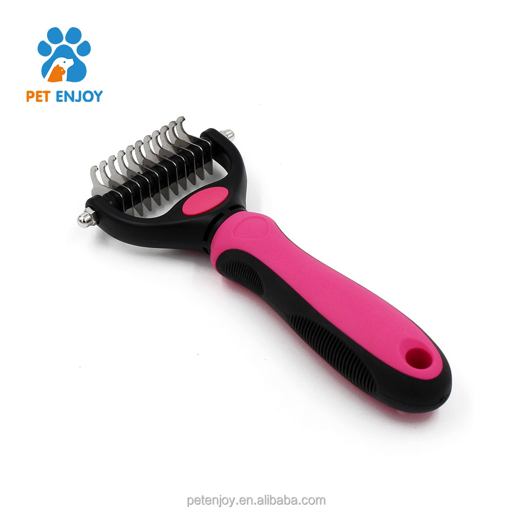 NEW model plastic handle pet deshedding tool grooming brush for dogs,long hair pet brush self cleaning