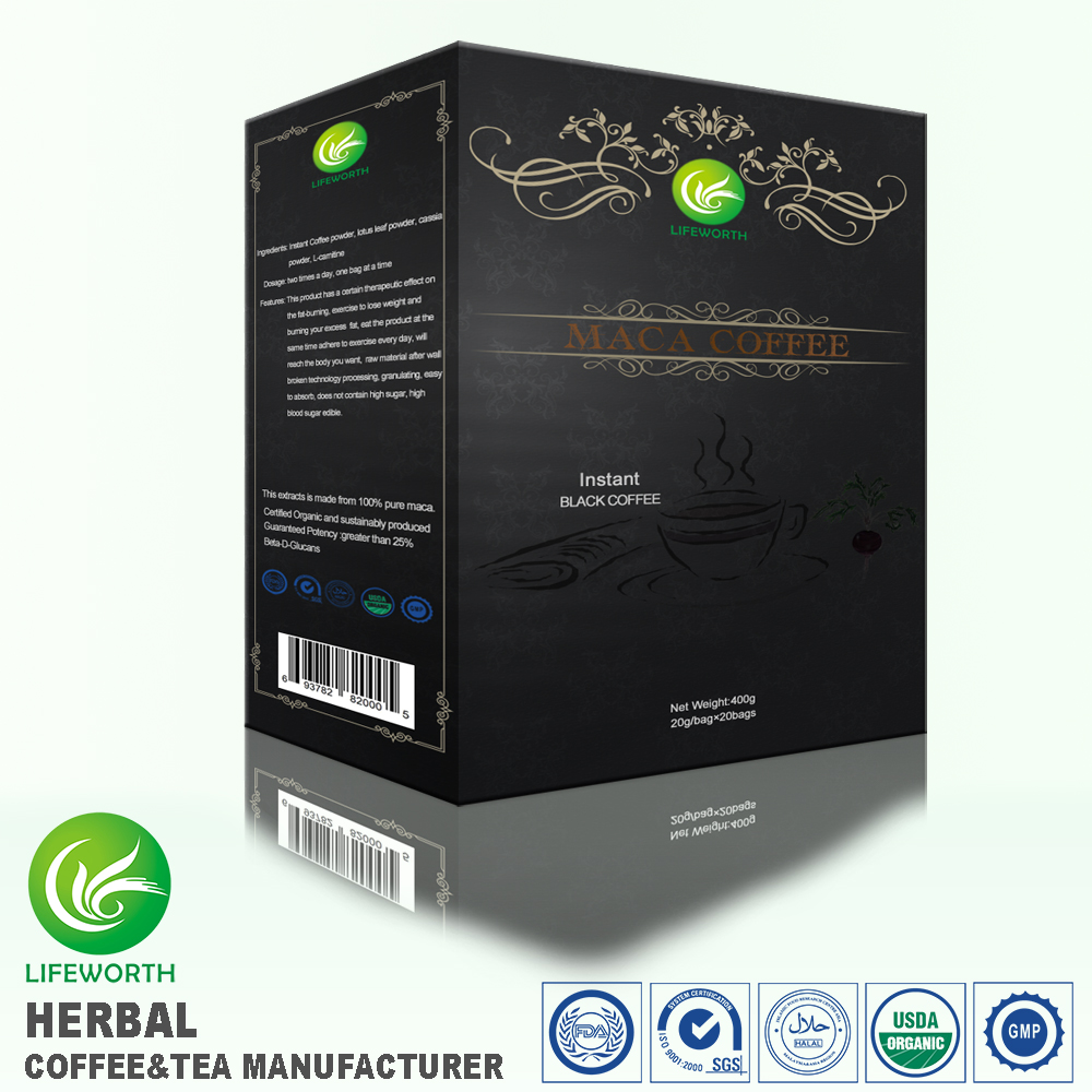Lifeworth fast production organic improve man power instant maca powder black coffee for enhance renal function