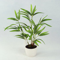 Out door artificial green bamboo plants with ceramic pot