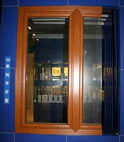 Inward side-hinge laminated plastic window with double glass
