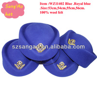 Wholesale wool felt formal hats Royal blue for woman in lady