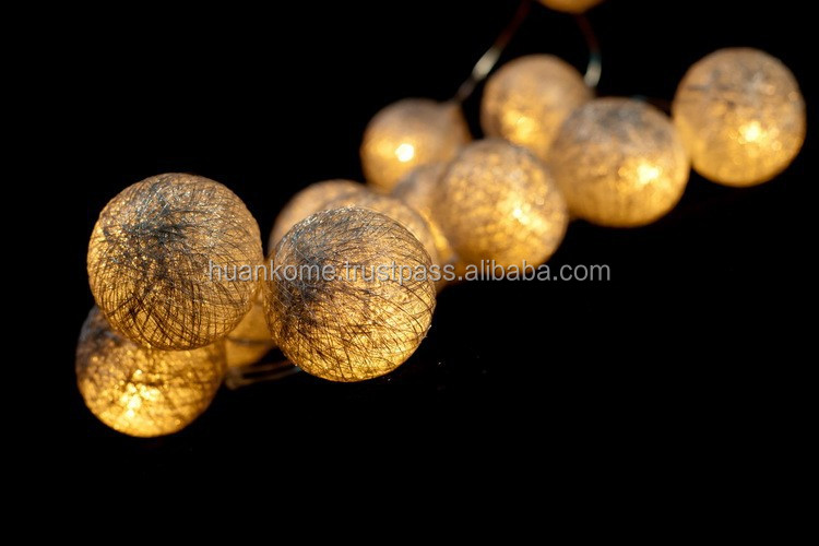 Silver Cotton Ball String Lights/Cotton Ball Fairy Lights Made in Thailand
