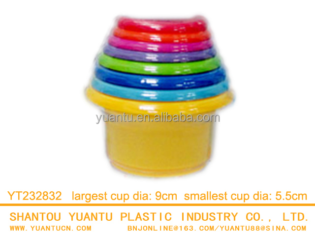 Plastic funny bath toy for kids intelligence stacking cups