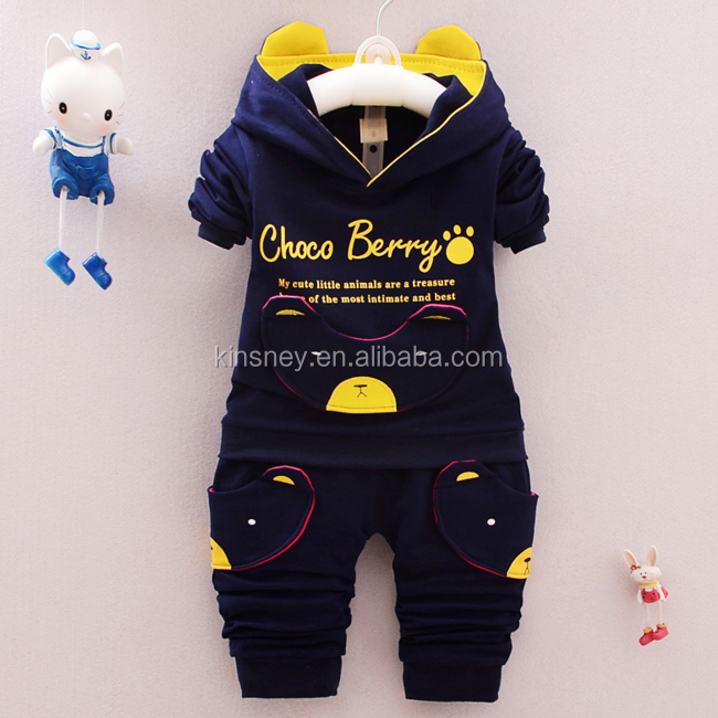 KS00013C 2017 Hot quality springautumn two piece baby boys clothing sets