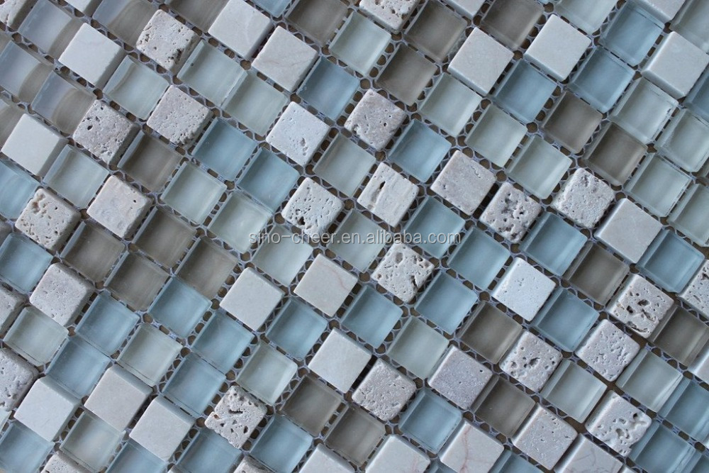 Best Selling skidproof mosaic tiles for pool dark blue mix sky blue square glass mosaic for swimming pool tile