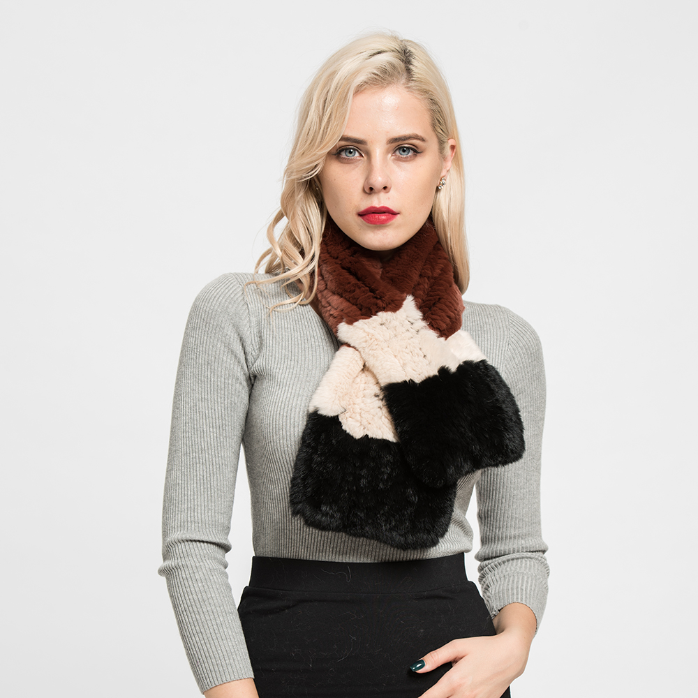 Women Thick Knitted Shawls Real Rex Rabbit Fur Scarf Fashion Casual <strong>Muffler</strong>