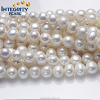 10-11mm wholesale near round make large holes real natural freshwater cultured loose pearl strand beads