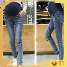 stone washed whisker design split hem maternity pants tight women jeans