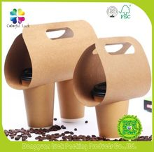 Disposible Customized Kraft Paper 2 Pack To Go Coffee Cup Drink Holder Carrier