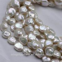 AA grade good quality coins shape flat freshwater pearl beads 12mm