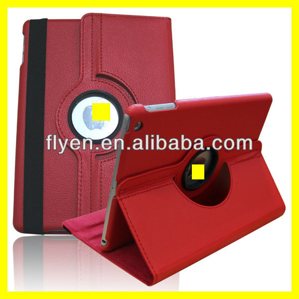 red Case For Apple iPad 5 Air 360 Degree Rotating PU Leather Cover Stand