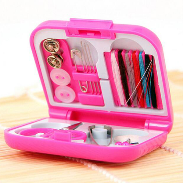 Plastic box cheap sewing set for travel mini sewing kit