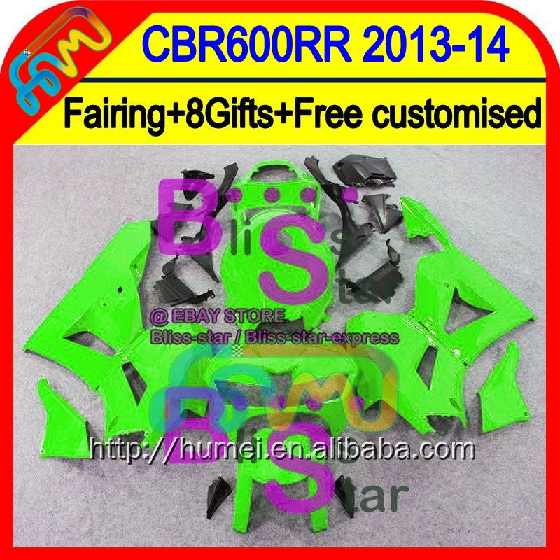 8Gifts Injection For HONDA CBR600RR 13 14 Glossy green 28HM49 CBR 600RR 600 RR 2013 2014 CBR600 RR F5 13-14 Fairing ALL Green