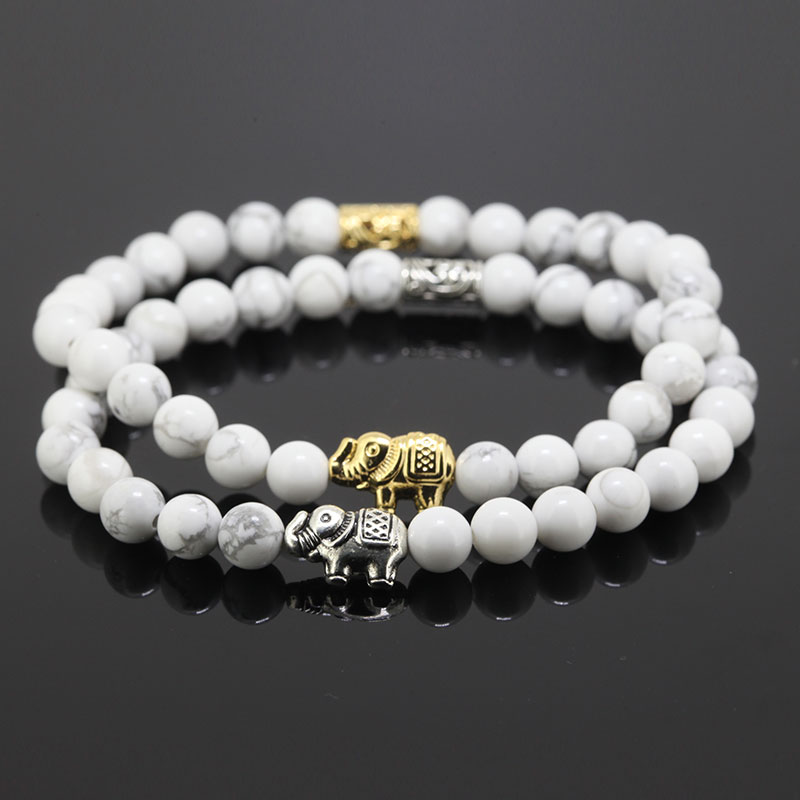 2016 Gold and Silver Elephant Hair 6mm Natural Stone Beads Stretch Bracelets for Women Men