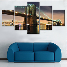 5 Panels Large Size Clinton Bridge Landscape Art Painting Prints on Canvas Modern Wall Art Home Decor